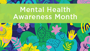 Mental Health Awareness Month illustration of woman mindfullness flowers bright colors
